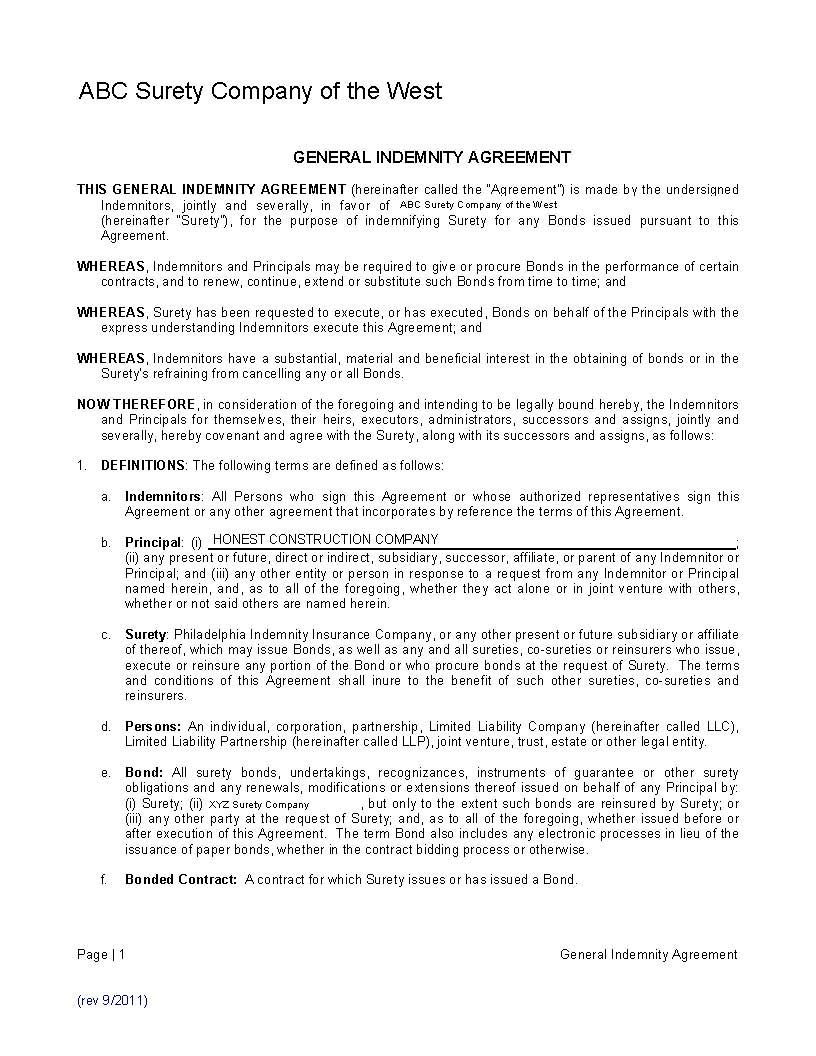 Indemnity Agreements Part 1 General Overview Surety1